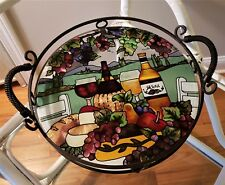 """Stained Glass & Metal Tray w/ Handles or Plate/Dish - Wine/Cheese Theme - 14"""""""