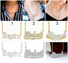 Personalized Sterling Silver 14KGold Script Double ANY NAME Plate Necklace Chain