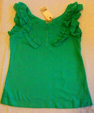 Apple pea green jade ruffle jabot pinstripe blouse shirt top cotton size L teal