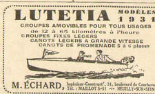 NEUILLY-SUR-SEINE ECHARD MOTEURS BATEAUX PETITE PUBLICITE 1931