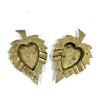 "2 Vintage Brass Ashtrays Leaf Shape Decorative Ornate - 5"" x 3.25"""