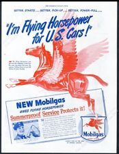 1946 Pegasus flying horse art Mobil Gas Flying Horsepower vintage print ad