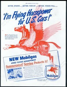 1946 Pegasus flying horse art Mobil Gas Flying Horsepower vintage print ad
