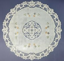 "Set of 4 Table Placemats Round Vinyl Lace Placemats Non Skid 16"" Lace Placemats"