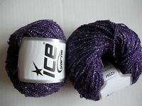Metallic accent yarn by Ice Yarns, purple/silver, lot of 2, (274 yds each)