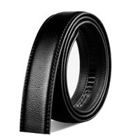 "Mens Belt No Buckle Black Genuine Leather Belt Width: 3.5cm/1.38 ""size S-9XL"