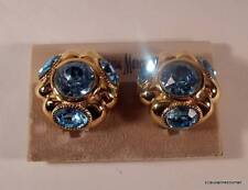 Big & Bold!!! Vintage CINER Blue Rhinestone Gold Plated Clip Earrings