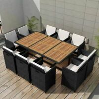 vidaXL Outdoor Dining Set 31 Piece Wicker Poly Rattan Black Glass Table Chairs