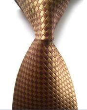Khaki Brown  Smal Lattice Tie JACQUARD Silk Men's Ties Necktie