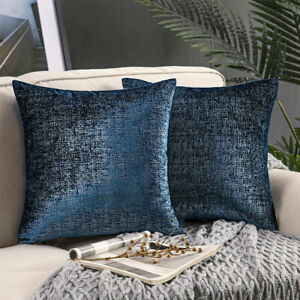 Cushion cover navy silver decorative pillowcase sofa couch silver foil printed