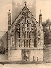 antique print view Merton College North Window of the Ante Chapel Oxford England