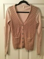 Moth Anthopologie Light Pink Cardigan Sweater, Size Large