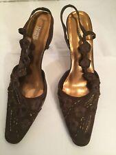 Valenti Franco Bronze Carmen Fabric Formal Slingbacks Shoes Women's Size 9M EUC