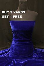 Premium Royal Blue Velvet Velour Lycra Spandex 4 Way Stretch dress craft fabric