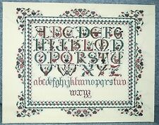 Handmade Cross Stitch Alphabet Sampler Danish Floral & Hearts Pinks Greens 11x14