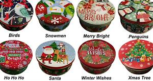 2pc Xmas Christmas Round Biscuit Cookie Cake Sweet Storage Tin Metal Gift Boxes