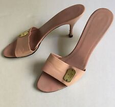 8a14823b8 GUCCI Women's Pink Leather Sandals Mules Heels Sz. 9