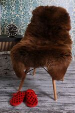 Beautiful Thick and Soft Chocolate Brown Sheepskin Rug - Real Shaggy