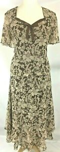 Jacques Vert Top 20 Skirt 16 chiffon Floral print Beige Brown layered crinkle