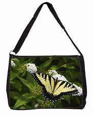 Pretty Black and Yellow Butterfly Large Black Laptop Shoulder Bag Schoo, IBU-1SB