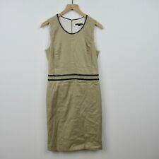 Hugo Boss Linen Dress Brown Shift Black Leather Trim Sleeveless Women's Size 8