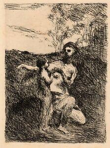 Corot 'Vénus coupant les ailes de l'Amour' etching, Le Garrec, Sagot, 1923