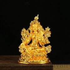 BLESSED TIBETAN BUDDHA GOLD GILT STATUE: GODDESS GREEN TARA FEMALE PROTECTION =