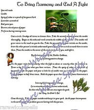 Heal Situation Bring Harmony & End Fight Spell Wicca Book of Shadows Page Ritual