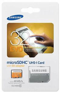 SAMSUNG EVO 32GB MicroSD Micro SDHC Class 10 Flash Memory Card w/ SD Adapter 32G