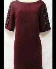 "BNWT "" Next "" Size 8 Tall Embellished Burgundy Shift Evening Tailored Dress"