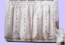 Battenburg Lace Cotton Kitchen Curtain - White - Café Tiers, Valances - NEW !