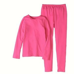 Fruit of the Loom Girls Core Performance Thermal Underwear Set Large Pink New!