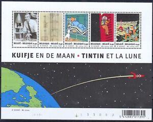Belgium**TINTIN ON THE MOON-SHEET 5vals-2004-MNH-ROCKET-Bloc TINTIN SUR LA LUNE