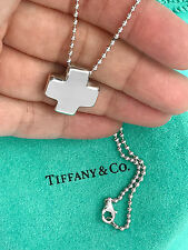 Tiffany & Co Sterling Silver Cross Pendant On Bead Chain Necklace