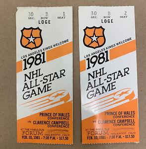 NHL 1981 ALLSTAR GAME TIX & PROGRAM 1st time KINGS host GRETZKY 1st A-S Point