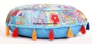 Indian Handmade Round Floor Pillow Cover Cotton Khambadiya Meditation Ottoman