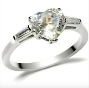 Ladies Silver Plated Promise Ring Heart Cubic Zirconia  Size 5 9 10