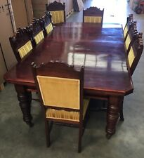 Antique Edwardian Extended Dining Table and 9 Edwardian Chairs