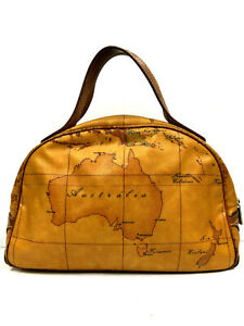 Alviero martini Prima Classe Handbag Purse Brown Brazil/Australia Map