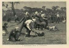 1881 - Antique Print FAR EAST Singapore Menagerie Race Monkey Pig Dog Men  (87B)