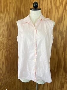 Eddie Bauer Womens Shirt Button Pink Medium Sleeveless Wrinkle Resistant Collar