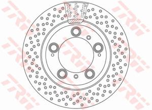 TRW Brake Rotor Rear DF6337S fits Porsche Boxster 2.7 (986) 162kw, 2.7 (986) ...
