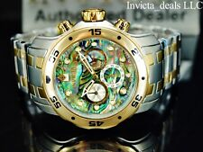 Invicta Men 48mm Pro Diver Chrono Abalone Dial Gold Two Tone Stainless St Watch