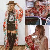 Sexy Women Floral Loose Kimono Cardigan Boho Chiffon Coat Jacket Blouse Top K3X9