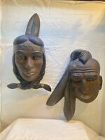 Vintage Holland Mold Native American Iroquois Couple Ceramic Face Wall Art