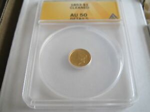 1853 , 1 Dollar , Gold , ANACS , AU 50 , Cleaned