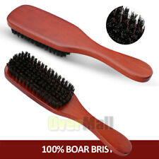 9inch Curved Soft Boar Bristle Wave Hair Brush Wooden Handle Premium Brown