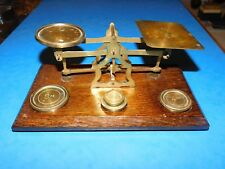 CRITERION ENGLAND BRASS & WOOD POSTAL SCALES WITH WEIGHTS
