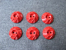 6  Vintage decorated w/ leaves red plastic flower rounded buttons
