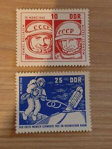 East Germany DDR 1965 Space Flight of Voskhod 2  2 stamp set MNH